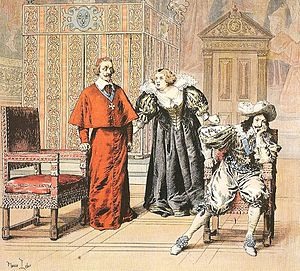 Day of the Dupes - Marie de' Medici confronts Cardinal Richelieu before Louis XIII. Illustration by Maurice Leloir (1910)