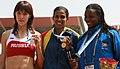 Medallists of 400m Women Final Ms. Wickramasinghe PDM of Sri Lanka (Gold), Ms. Elena Ildeikina of Russia (Silver), Ms. Nyarunda Josephine of Kenya (Bronze) at the 4th Military World Games, in Hyderabad on October 16, 2007.jpg