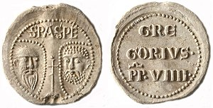 Papal bull - Lead bulla (obverse and reverse) of Gregory IX, pope 1227 to 1241