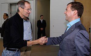With CEO of Apple Inc. Steve Jobs.