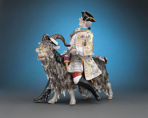 Heinrich von Brühl - Count Brühl's Tailor on a Goat - Satirical Porcelain Figure by Meissen