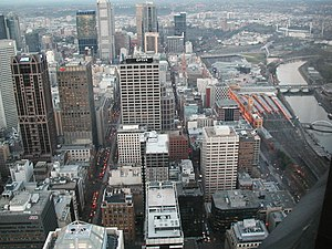 Hoddle Grid - Aerial view of the city centre looking east. The Yarra River is on the right and the MCG is visible in the background.