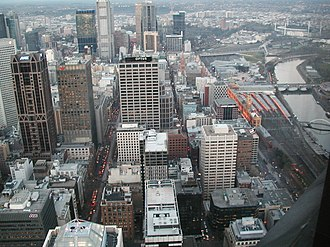 Melbourne City Centre - Aerial of the southern area of Melbourne's CBD. The far right of the image is Flinders Street station and the Yarra River.