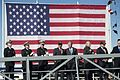 Members of the official party applaud at the conclusion of the christening ceremony for the aircraft carrier USS Gerald R. Ford (CVN 78) Nov. 9, 2013, at Newport News Shipbuilding in Newport News, Va 131109-N-WL435-958.jpg