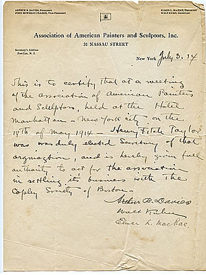 Henry Fitch Taylor - Image: Memorandum certifying Henry Fitch Taylor as Secretary of the Association of American Painters and Sculptors, July 3, 1914