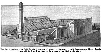 Memorial Stadium (Champaign) - Original plan for Memorial Stadium circa 1921. Caption from Popular Mechanics magazine, 1921