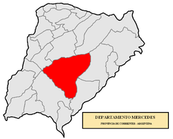 location of Mercedes Department in Corrientes Province