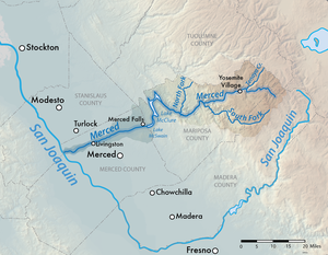 New Exchequer Dam - Map of the Merced River watershed, including location of Lake McClure
