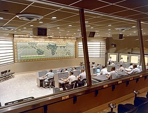 Christopher C. Kraft Jr. Mission Control Center - Mercury Control at Cape Canaveral during a simulation of Mercury-Atlas 8 in 1962