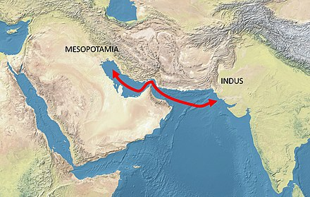 The trade routes between Mesopotamia and the Indus would have been significantly shorter due to lower sea levels in the 3rd millennium BCE. Mesopotamia-Indus.jpg