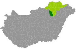 Mezőkövesd District within Hungary and Borsod-Abaúj-Zemplén County.