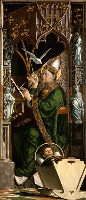 Michael Pacher - Altarpiece of the Church Fathers right panel showing Saint Ambrose, 1471-75, Alte Pinakothek, Munich