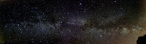 English: Panoramic view of the Milky Way with ...