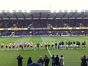 South London derby - Millwall and Crystal Palace line-up at The Den on New Year's Day 2011.
