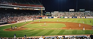 2000 Cincinnati Reds season - The Reds playing against the Milwaukee Brewers during an August 2000 away game at Milwaukee County Stadium.