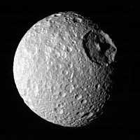 Mimas, as imaged by Voyager 1 in 1980 (NASA)