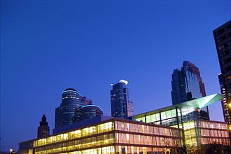 Hennepin County Library - Image: Minneapolis Central Library and night skyline