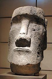 Disembodied moai fragment, at the Pavillon des Sessions in the Musée du Louvre, Paris