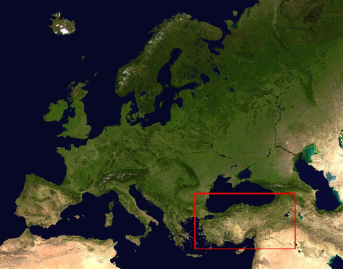 The location of Turkey (within the rectangle) in reference to the European continent. Anatolia roughly corresponds to the Asian part of Turkey Modern-day Turkey and Europe NASA modified.png
