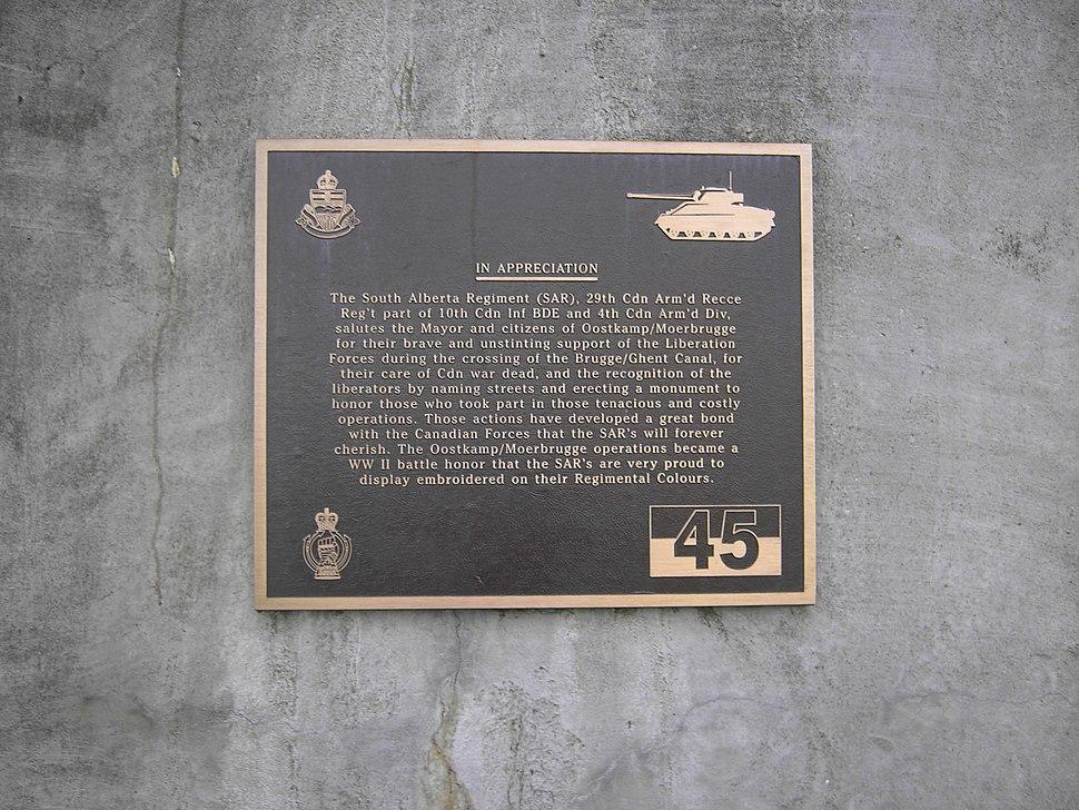 Moerbrugge - Bordje aan monument