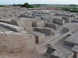 The excavated ruins of Mohenjo-daro in present-day Sindh, Pakistan.