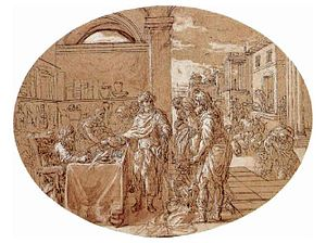 Tithe - Tithing in the Temple by Pierre Monier