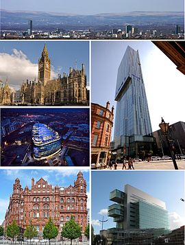 Clockwise from top: the city seen from a distance, Beetham Tower, Manchester Civil Justice Centre, Midland Hotel, One Angel Square, Manchester Town Hall