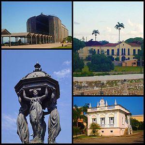 Santa Cruz, Rio de Janeiro - Clockwise: South door Hangar do Zeppelin; Princess Isabel Palace; Araujo's Mansion, Wallace Fountain