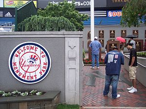 1976 New York Yankees season - The entrance to the monuments and plaques, at the end of the retired numbers display.
