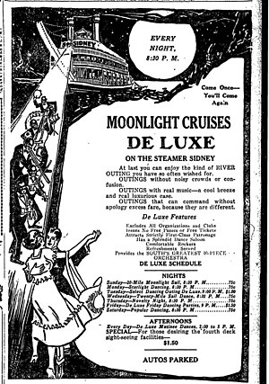 "Streckfus Steamers - 1920 Streckfus Steamers' advertisement for ""Moonlight Cruises De Luxe"" aboard the Sidney"
