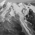 Mount Katmai, mountain glacier, firn line, icefall, and bergschrund, August 24, 1960 (GLACIERS 7025).jpg
