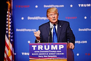 United States presidential election in New Hampshire, 2016 - President Donald Trump at a campaign event in Derry, New Hampshire