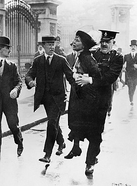 Mrs Emmeline Pankhurst, Leader of the Women's Suffragette movement, is arrested outside Buckingham Palace while trying to present a petition to King George V in May 1914. Q81486.jpg