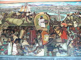 Mural que muestra la vida de los mexicas en el mercado de Tlatelolco. Se  encuentra en el Palacio Nacional, en la Ciudad de México.