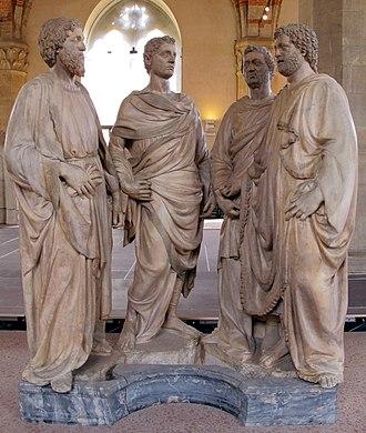 Four Crowned Martyrs (Nanni di Banco) - Image: Museo di orsanmichele, nanni di banco, quattro santi coronati, 01