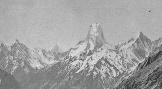 Muztagh Tower - Vittorio Sella's photograph of the Muztagh Tower, which was to inspire the first ascent