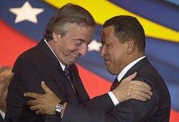 Néstor Kirchner et Hugo Chávez en juillet 2004