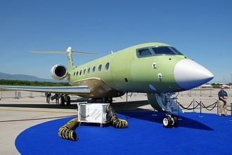 Gulfstream G650 - Unpainted flight test prototype at EBACE 2012