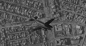 A C-12C aircraft over Fallujah, Iraq.