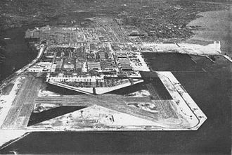 Naval Air Station Alameda - Aerial view of NAS Alameda in the mid-1940s