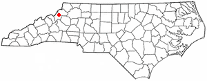 Banner Elk, North Carolina - Image: NC Map doton Banner Elk