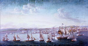 Barbary slave trade - A US Navy expedition under Commodore Edward Preble engaging gunboats and fortifications in Tripoli, 1804.