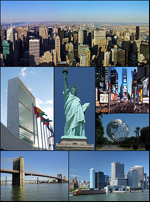 Midtown Manhattan, UNO Center, Freiheitsstatue, Times Square, Unisphere in Queens, Brooklyn Bridge, State Street Plaza mit Battery Park und Fähre Staten Island und Governors Island