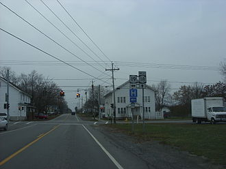 New York State Route 18 - Looking west at the junction of NY 18 and NY 19 in Hamlin. NY 18 initially turned right here and followed modern NY 19 and the now-decommissioned NY 360 into Orleans County.