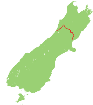 New Zealand State Highway 7 - Image: NZ SH7 map