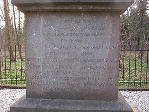 De Naald, Heemstede - Inscription on monument 'De Naald', Heemstede