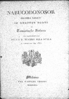 Libretto del Nabucco, del 1842
