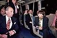 Nancy Pelosi on BART train for SFO Extension opening, June 2003.jpg