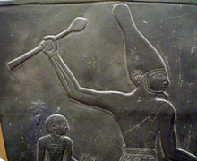 Close-up view of Narmer on the Narmer Palette