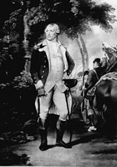 An image of Nathanael Greene standing beside his horse, dressed in the uniform of a Continental Army General